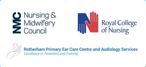 RCN, NMC and Rotherham Primary ear care logos